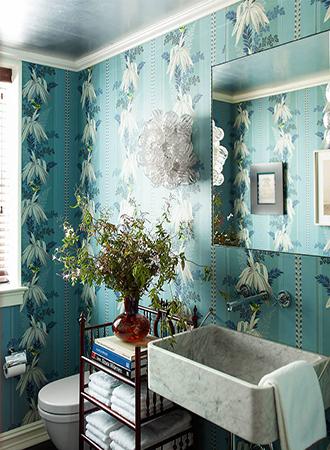 palm leaf bathroom wallpaper ideas