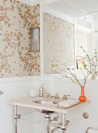neutral floral bathroom wallpaper ideas