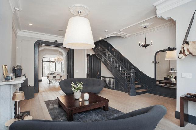 dark gray painted stairs