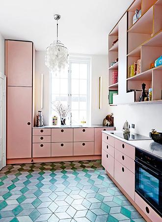 Pastel pink retro kitchen