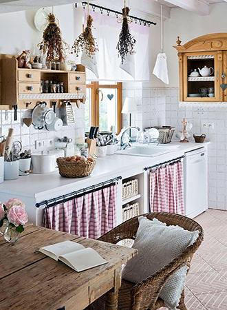 Retro kitchen cabinet curtains