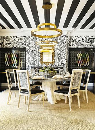 Wallpaper ceiling dining room ideas