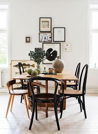 monochrome dining room walls decor ideas