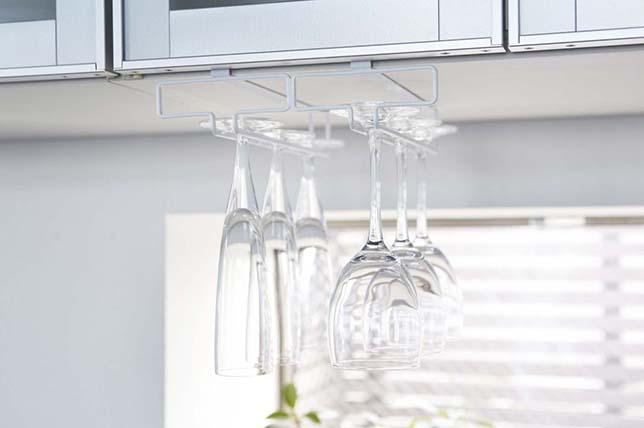 Under shelf wine glass holder kitchen decor and organization tips