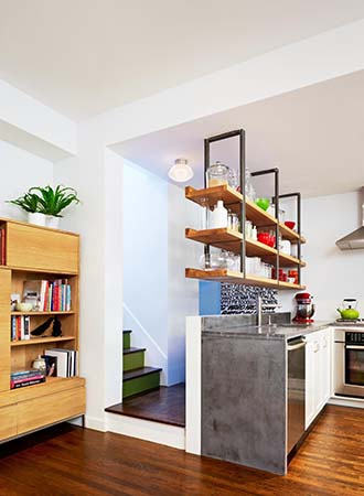 A floating partition wall kitchen decor and organization tips