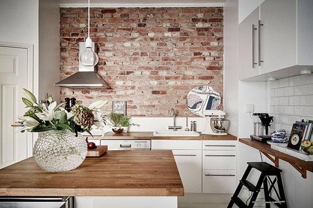 farmhouse kitchen decor exposed brick