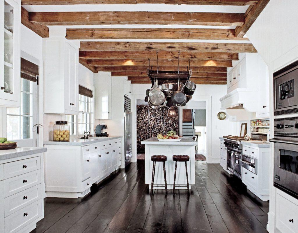 farmhouse kitchen decor wooden beams
