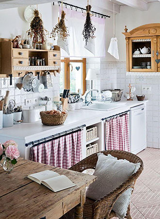 farmhouse kitchen decor cabinet curtains