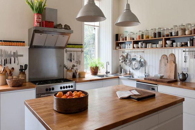 farmhouse kitchen decor wood counter top