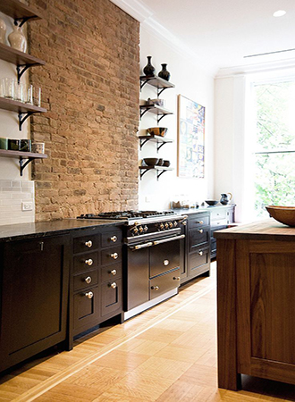 exposed brick country kitchen ideas