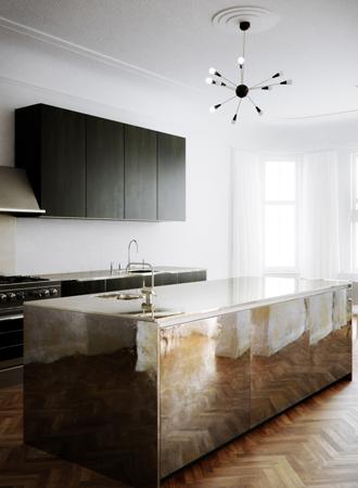 mirrored kitchen island