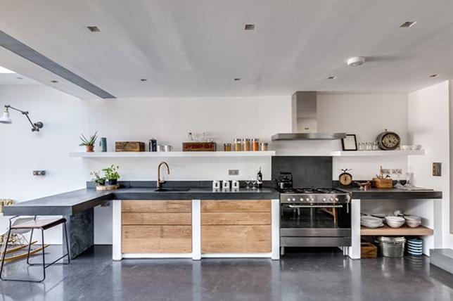 open wooden shelves country kitchen ideas