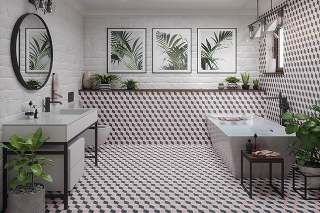 contrasting tile bathroom wall design