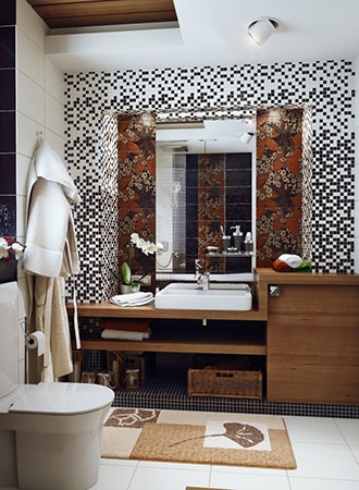 Tile art bathroom wall art ideas