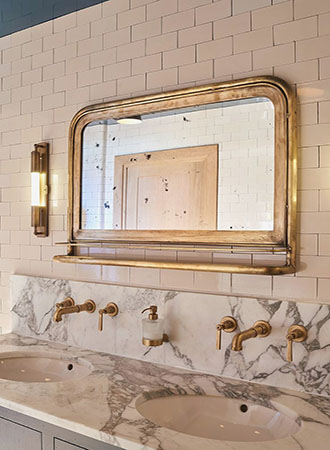 Vintage mirror bathroom wall art ideas