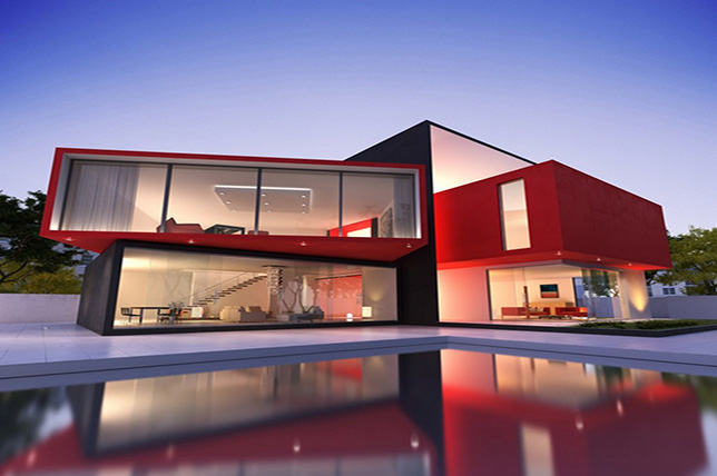 modern red house exterior colors