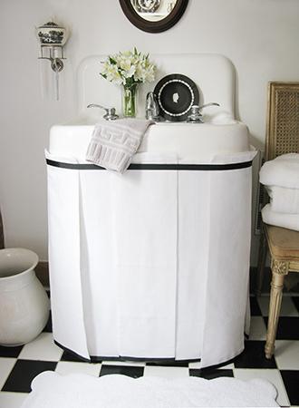 Pedestal skirt bathroom storage ideas