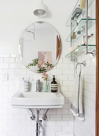 Bathroom storage ideas floating glass shelves