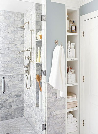 Bathroom storage ideas stacked shelves