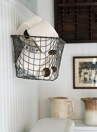 Bathroom storage ideas hanging on basket