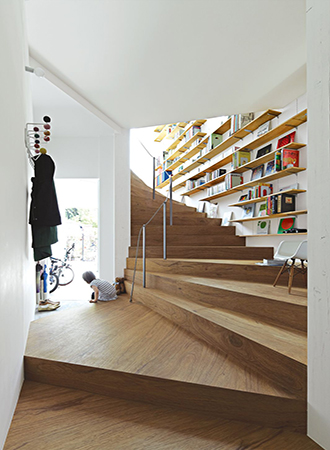 built-in bookcases staircase ideas