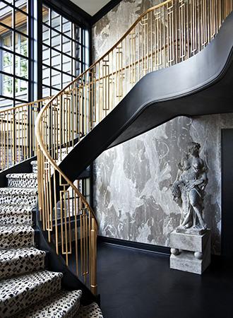Gold railing stair ideas