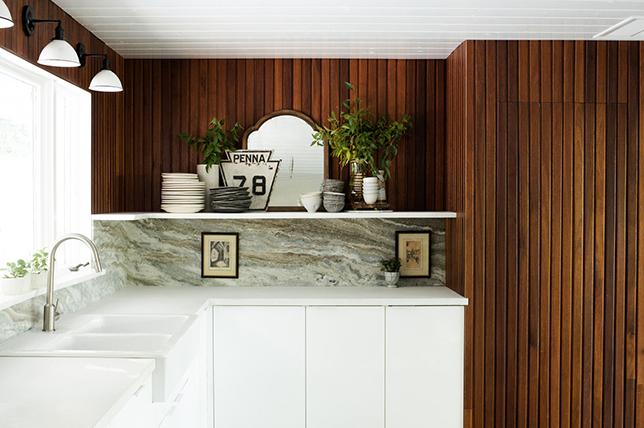 modern kitchen wall decoration wood paneling