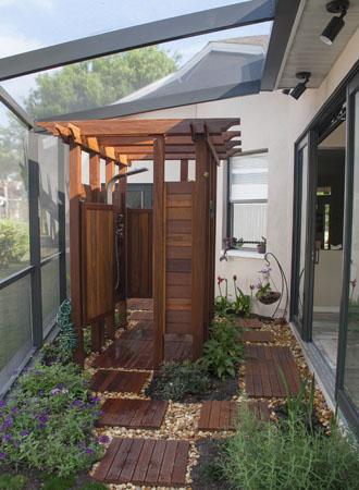 Wood outdoor shower ideas