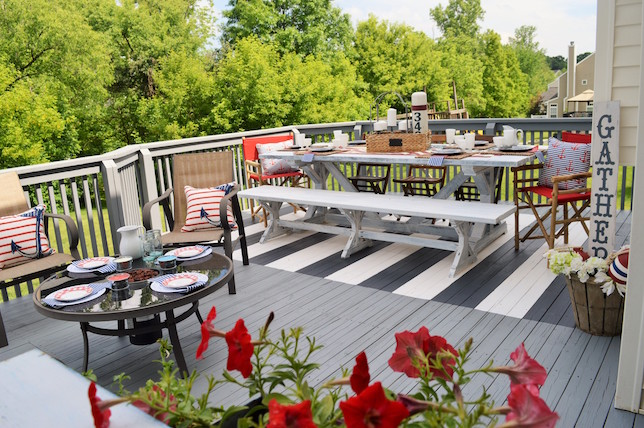 painted stripes modern deck ideas