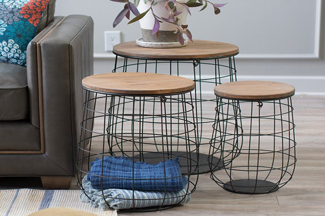 Wire basket living room organization