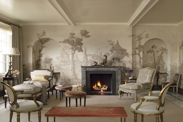 Retro wallpaper living room wall decor ideas