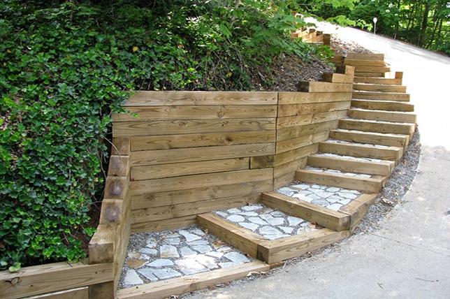 curved stairs and steps retaining wall ideas