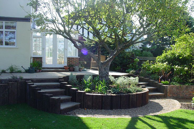 Railway sleepers retaining wall ideas