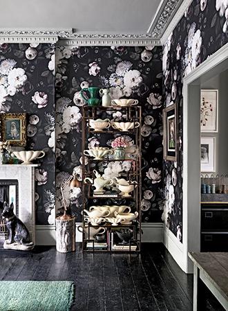 Flower wallpaper living room remodel ideas