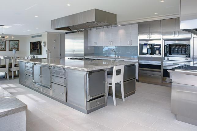 metallic kitchen island