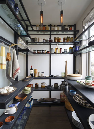 Glass shelves kitchen cabinet pantry ideas