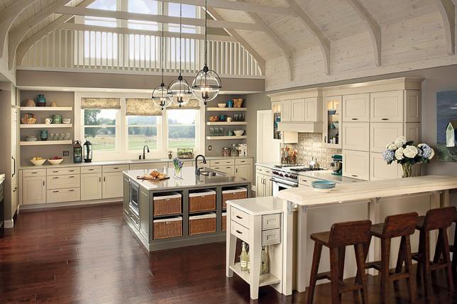 Basket storage kitchen island