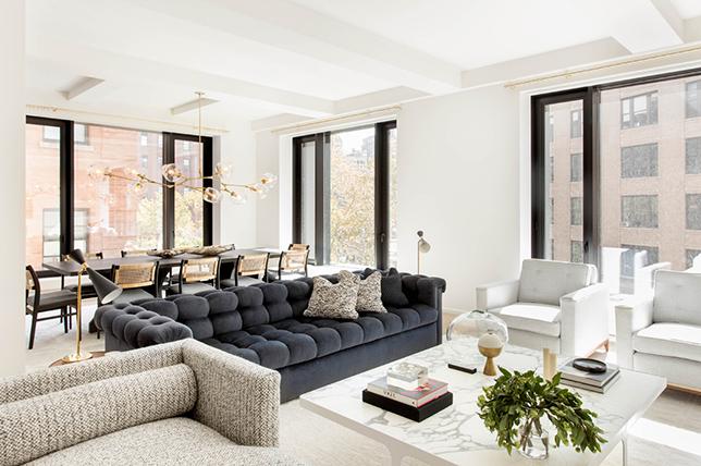 Velvet living room interior design trends 2019