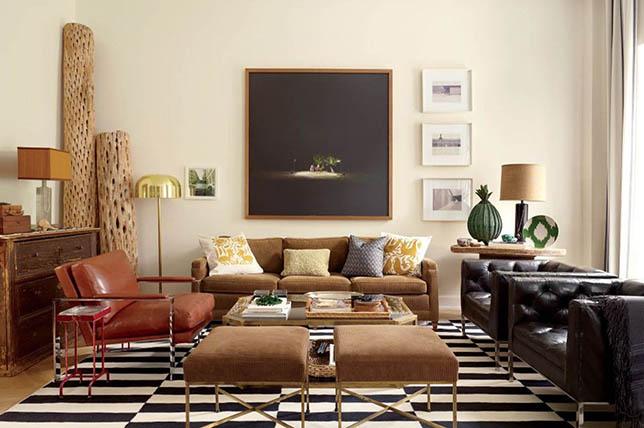 striped geometry living room interior design trends 2019