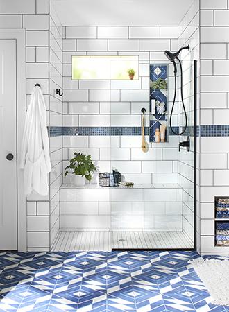 Geometric bathroom floor ideas 2019