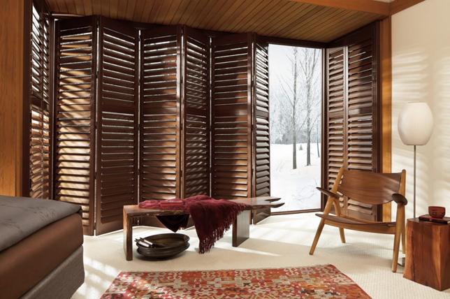 dark wood shutters window treatment ideas 2019