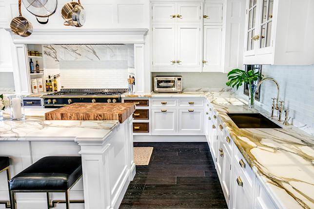unique backsplash from marble kitchen