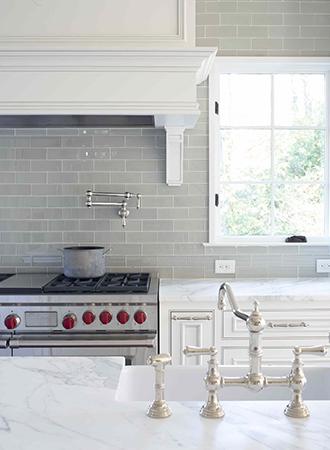 glazed black kitchen backsplash