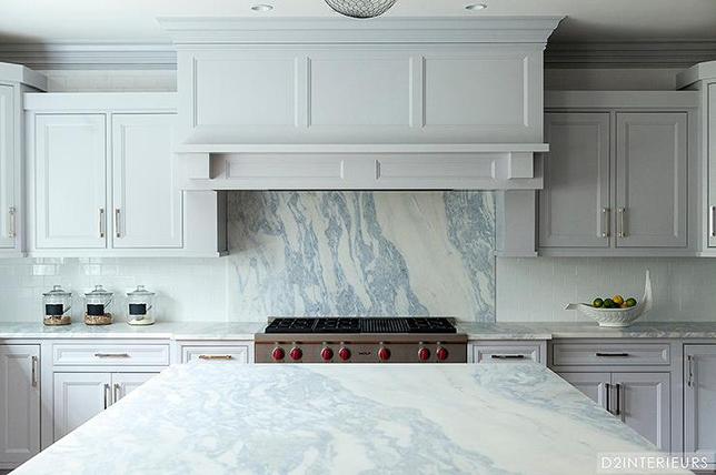 Backsplash from gray marble kitchen