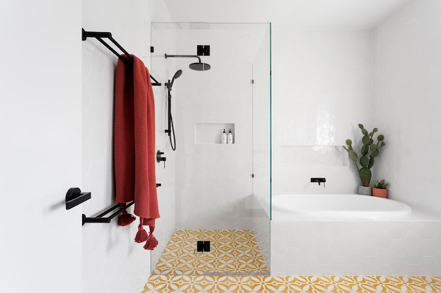 geometric bathroom floor tiles