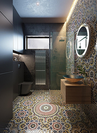 modern mosaic bathroom floor tiles