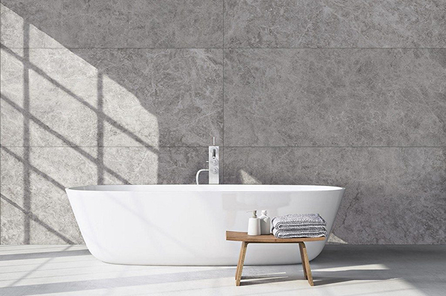 Stone bathroom floor tiles