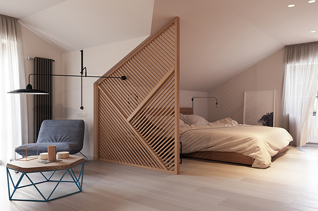 Room divider made of wood