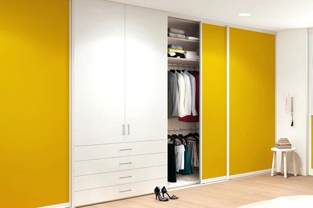brightly painted cabinet doors
