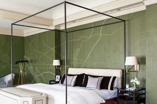 minimal modern four poster bed